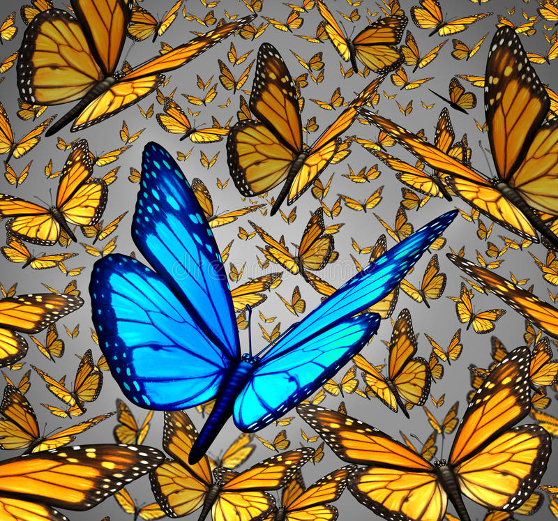 New Vision. Standing out from the crowd business concept as a symbol of individuality and innovative thinking as a group of Monarch butterflies flying with a vector illustration