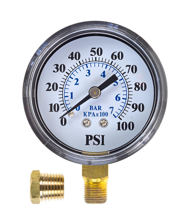 New water pressure gauge with coupling stock photos