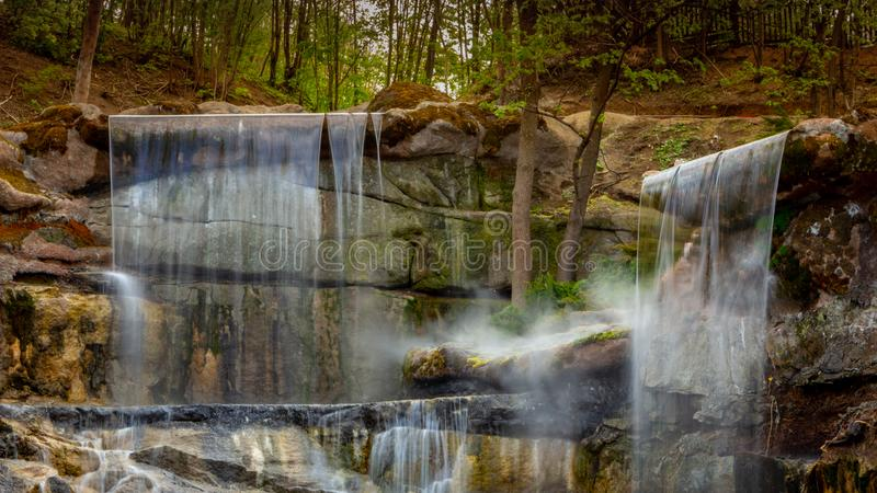New waterfall in Sophia old dendropark, in the city of Uman, Ukraine. New waterfall in Sophia dendropark, in the city of Uman, Ukraine stock image