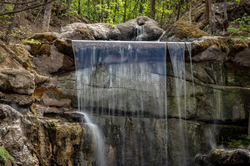 New waterfall in Sophia old dendropark, in the city of Uman, Ukraine. New waterfall in Sophia dendropark, in the city of Uman, Ukraine royalty free stock image