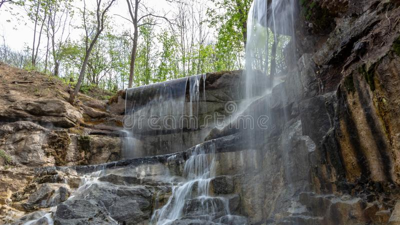 New waterfall in Sophia old dendropark, in the city of Uman, Ukraine stock images