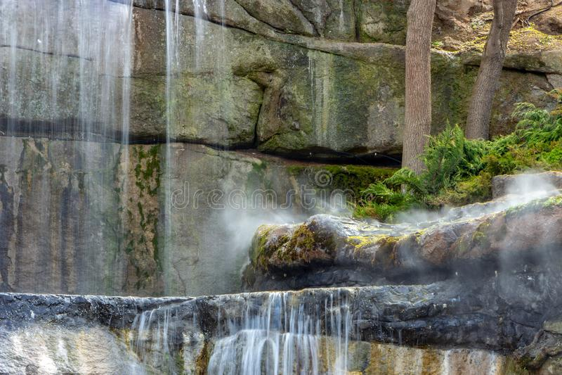 New waterfall in Sophia old dendropark, in the city of Uman, Ukraine stock photography