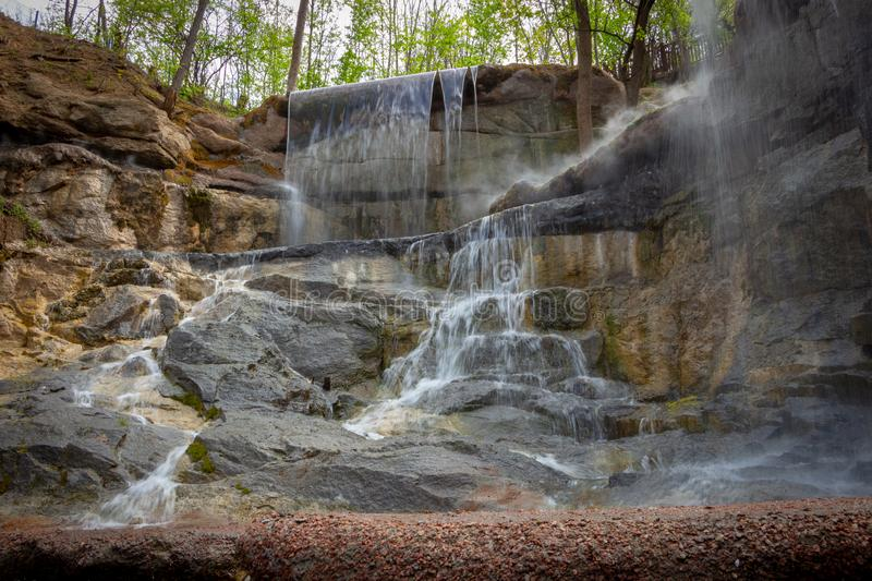 New waterfall in Sophia old dendropark, in the city of Uman, Ukraine royalty free stock photos