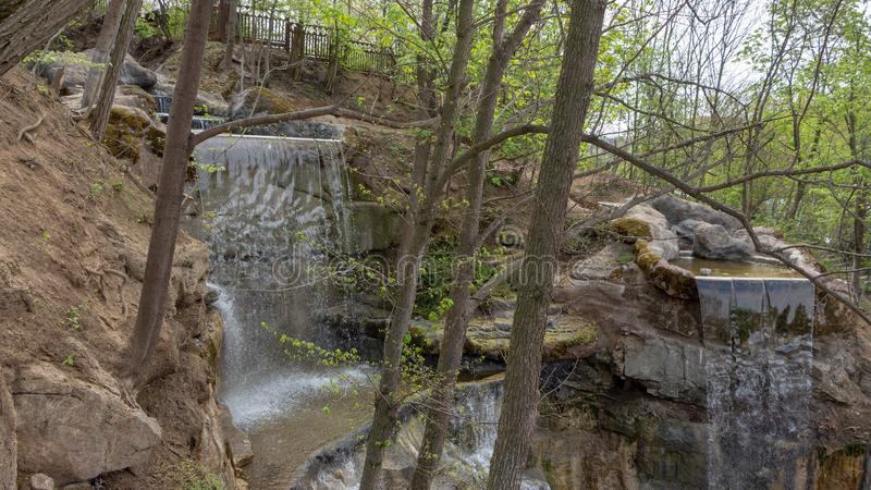 New waterfall in Sophia old dendropark, in the city of Uman, Ukraine. New waterfall in Sophia dendropark, in the city of Uman, Ukraine royalty free stock photo