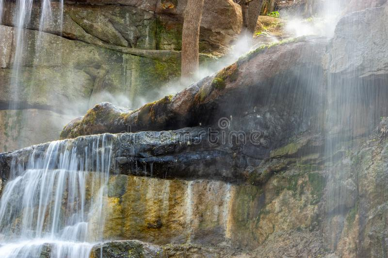 New waterfall in Sophia old dendropark, in the city of Uman, Ukraine stock photos