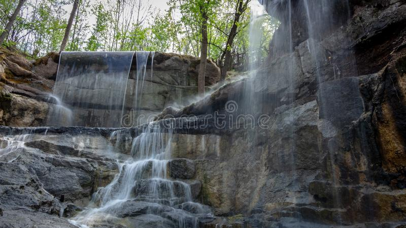 New waterfall in Sophia old dendropark, in the city of Uman, Ukraine. New waterfall in Sophia dendropark, in the city of Uman, Ukraine stock photography