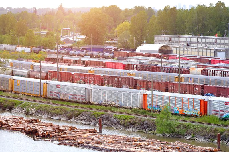 New Westminster, Canada, May 02, 2019: Canadian Rail Editorial. The image New Westminster, Canada, May 02, 2019: Canadian Rail Editorial royalty free stock photo