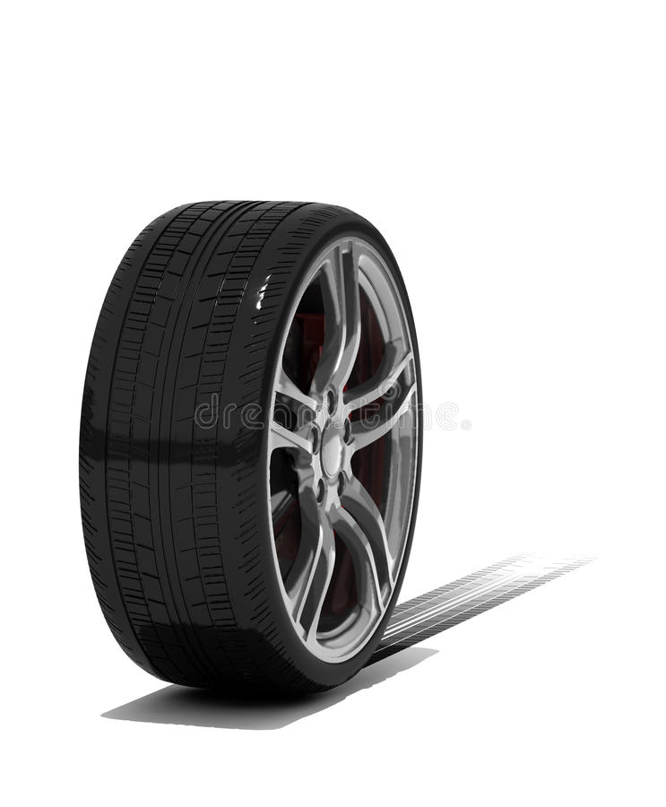 Download New wheel with tyre track stock illustration. Image of object - 11644023