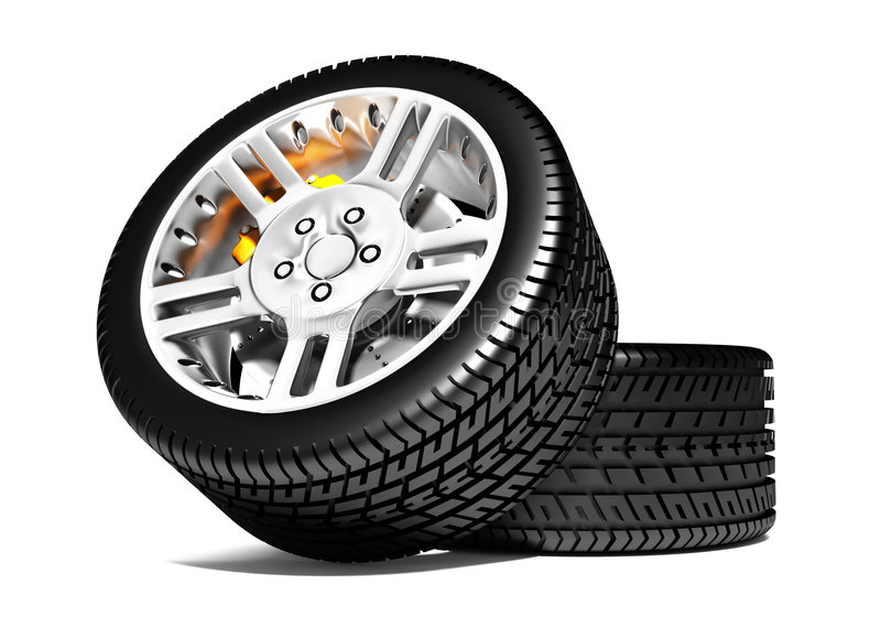 New wheels. Photorealistic 3d render. Wheel isolated on white