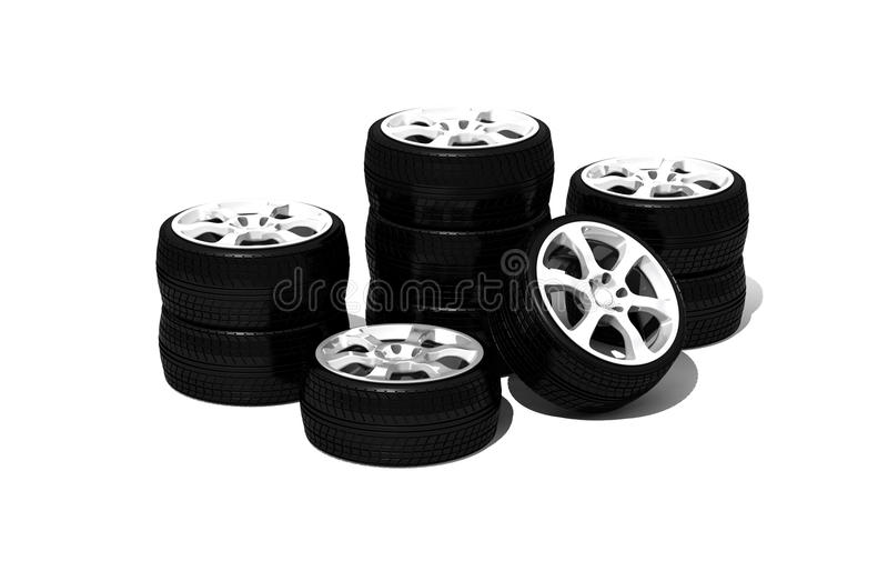 Download New wheels with steel rim stock illustration. Image of object - 11305422