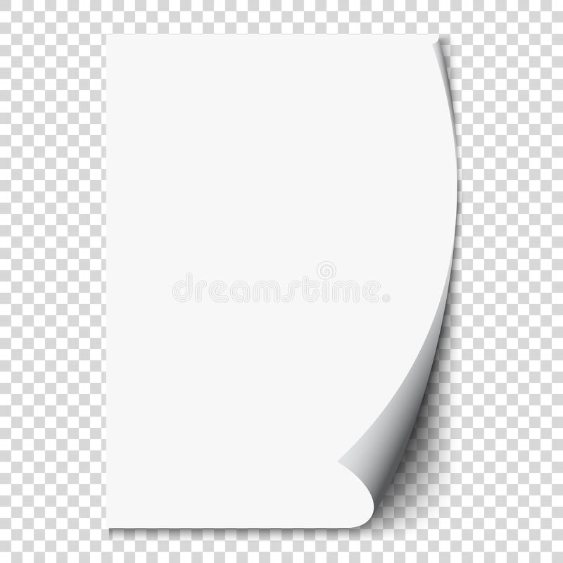 New white page curl on blank sheet paper. Realistic empty folded page. Transparent design sticker. Vector. Background graphic illustration eps10 stock illustration