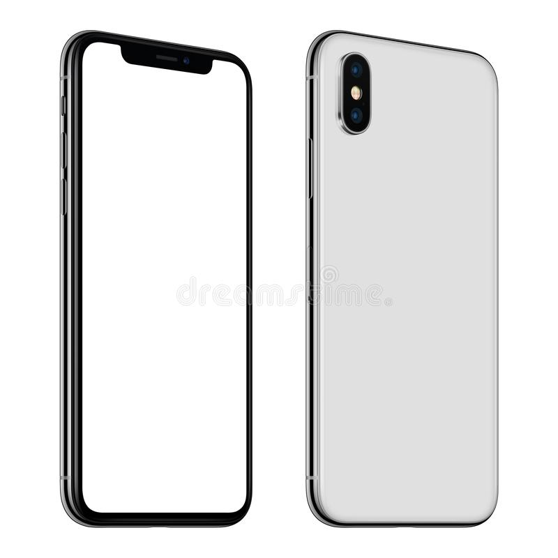 New white smartphone mockup similar to iPhone X front and back sides CCW rotated isolated on white background stock photography