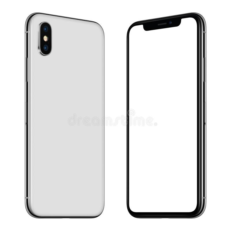 New white smartphone similar to iPhone X mockup front and back sides rotated and facing each other. Rotated smartphone similar to iPhone X mockup front and back stock illustration