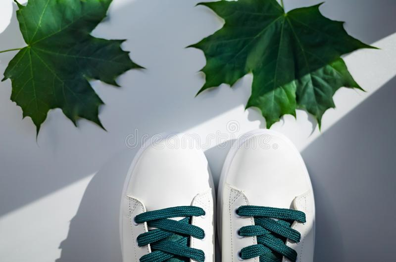 New white sneakers with green laces royalty free stock photo