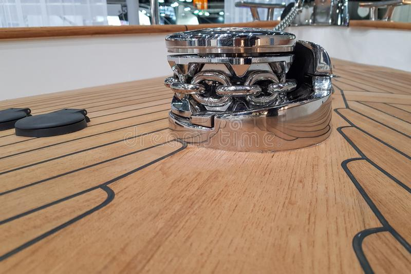 New windlass for anchoring on the deck of a sailing yacht.  royalty free stock photos