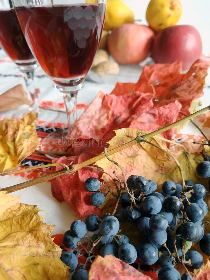 New wine on the table stock images