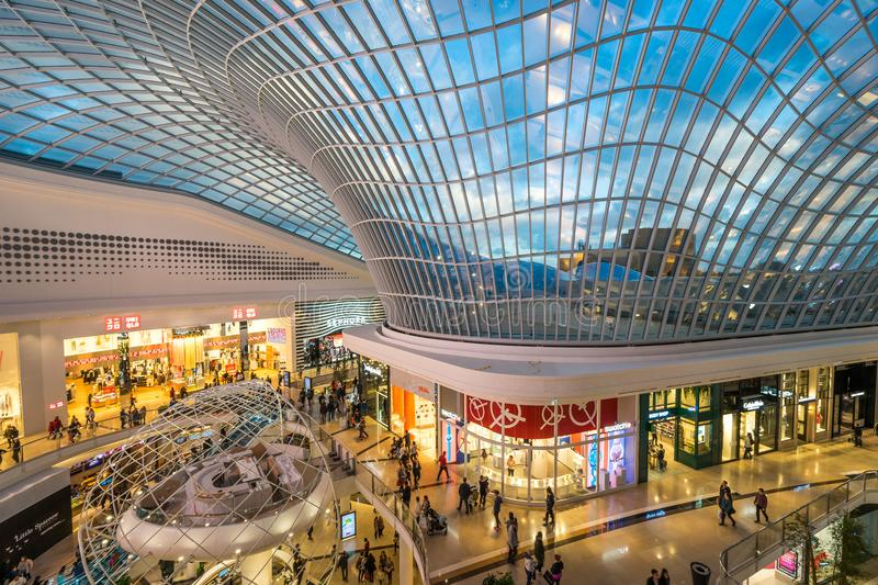 New wing of the Chadstone shopping centre, the largest shopping centre in Australia. Glass roof in the new wing of the Chadstone shopping centre stock image