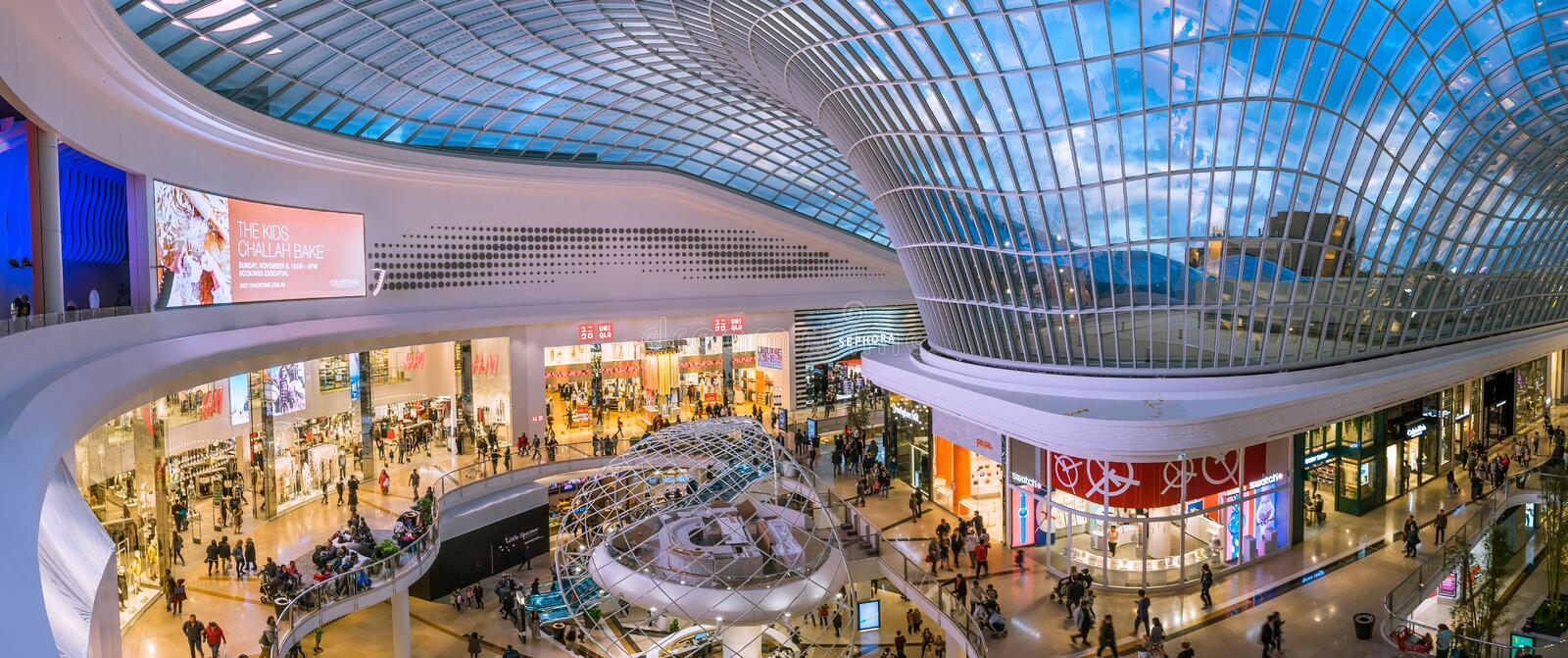 New wing of the Chadstone shopping centre, the largest shopping centre in Australia. Panoramic view of the new wing of the Chadstone shopping centre stock photo