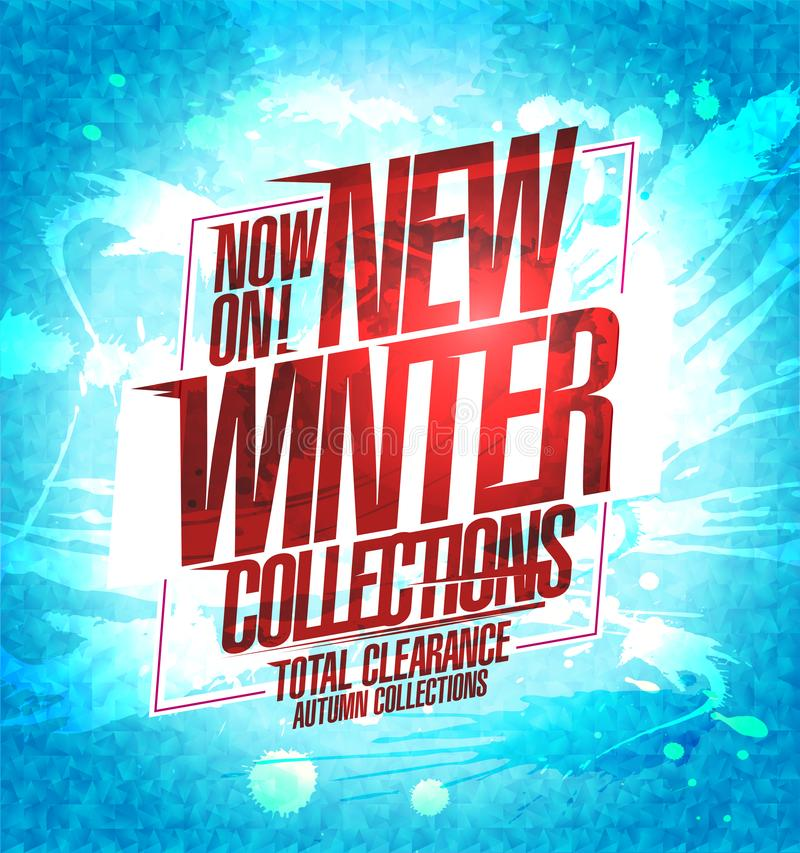New winter collections poster, sale autumn collections stock illustration