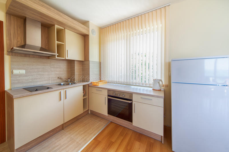 New wooden kitchen interior with appliances. New modern wooden kitchen interior with appliances stock photography