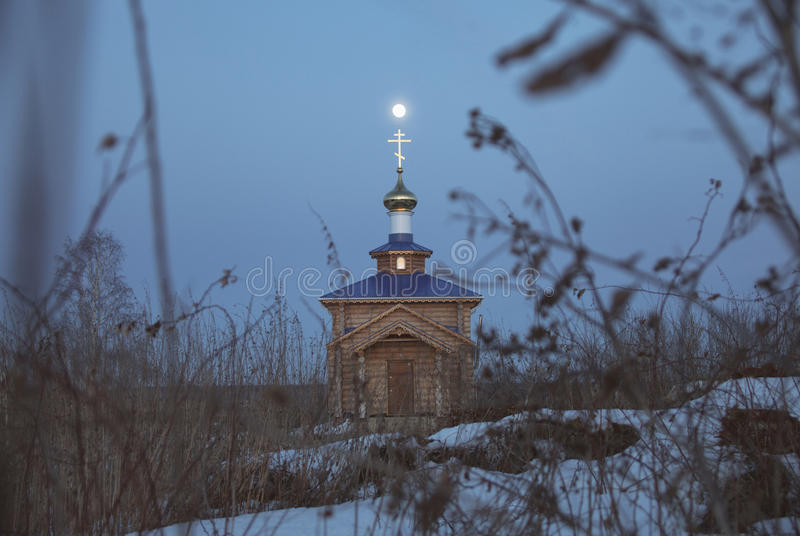 A new wooden Orthodox church in the Rysly village royalty free stock photo