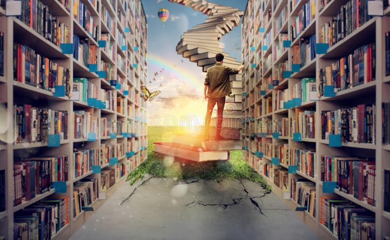 New hidden world behind the library. Books open the mind for imagination stock photos