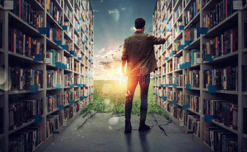 New hidden world behind the library. Books open the mind for imagination royalty free stock photos