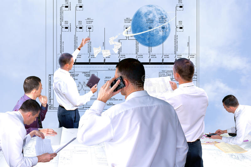 New world technology. Projection -initial preparatory stage in construction new building stock photos