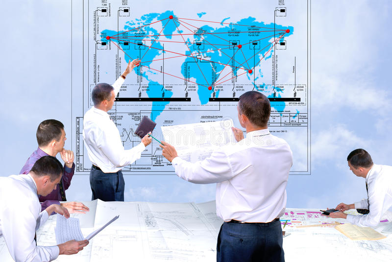 New world technology. Projection -initial preparatory stage in construction new building royalty free stock image