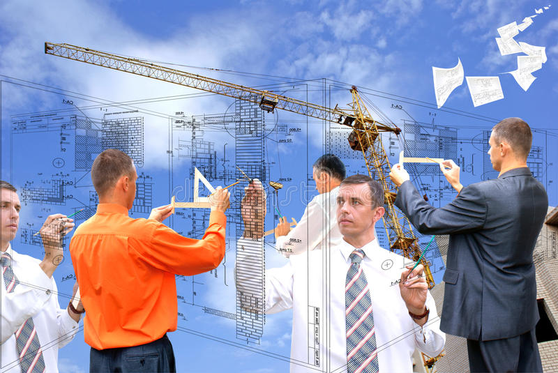 New world technology. Projection -initial preparatory stage in construction new building royalty free stock photography