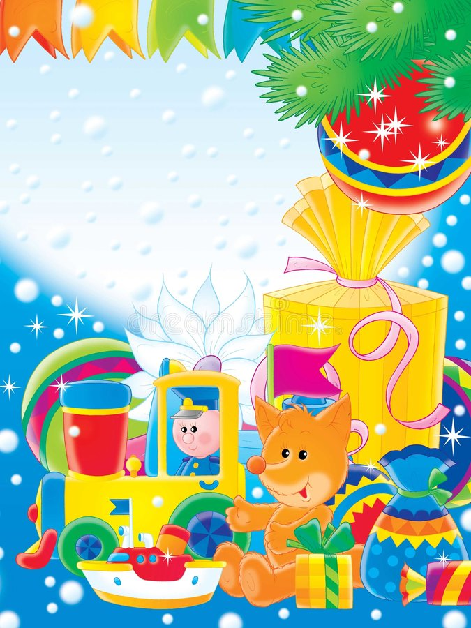 Download New Year 03 stock illustration. Illustration of snow, toys - 189264