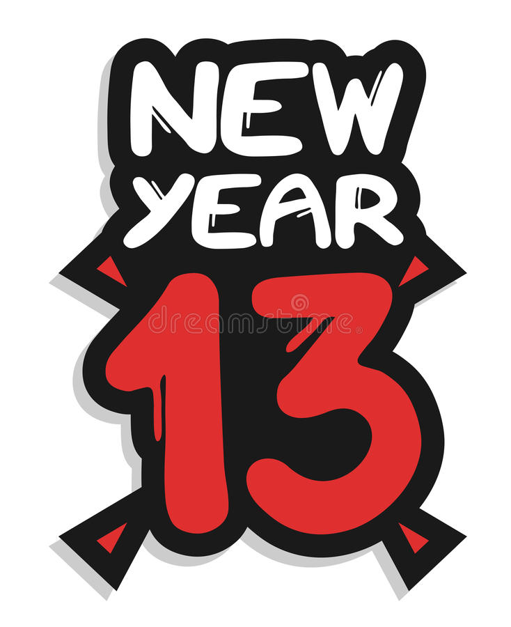New year 13 sticker stock illustration