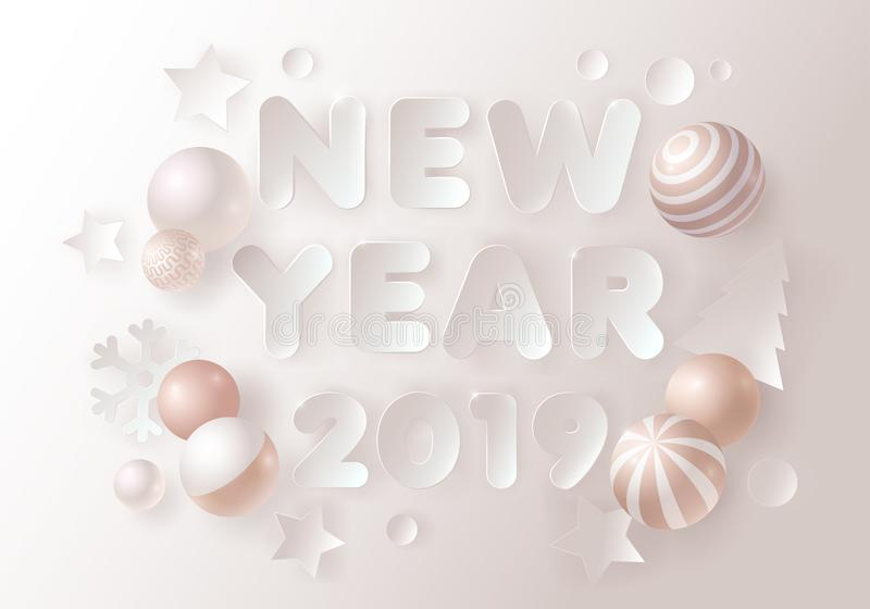 New year background with paper cut text and gold decorative 3D balls. Vector illustration. Greeting card vector illustration