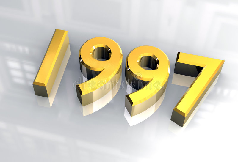 New year 1997 in gold (3D) royalty free illustration