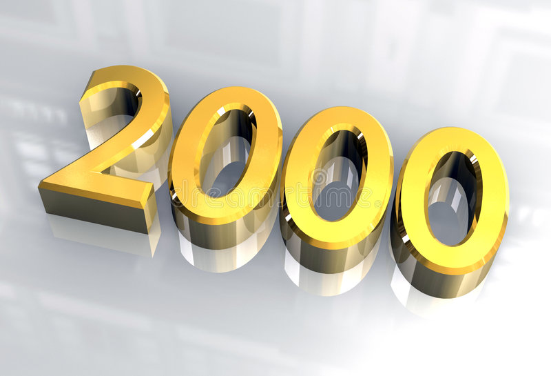 New year 2000 in gold (3D) royalty free stock images