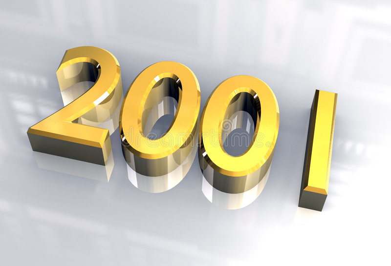 New year 2001 in gold (3D) stock illustration. Illustration of ...