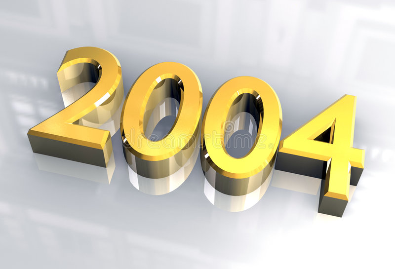 New year 2004 in gold (3D) stock illustration. Illustration of ...