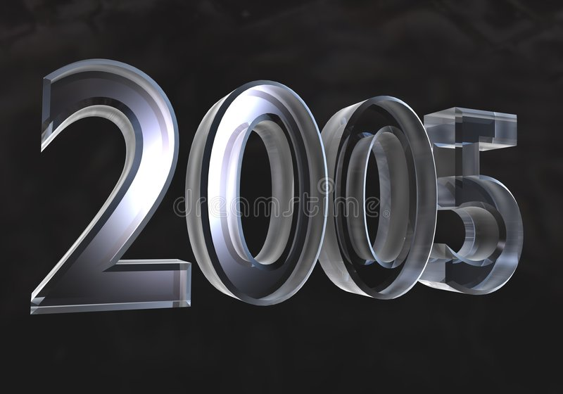 New year 2005 in glass (3D) stock illustration