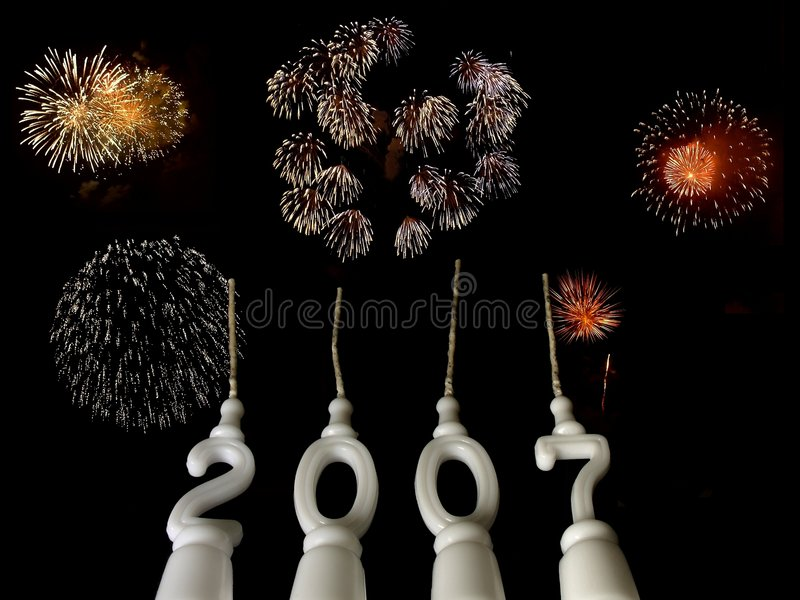 Download New Year 2007 - 4 stock photo. Image of night, glowing - 1584064