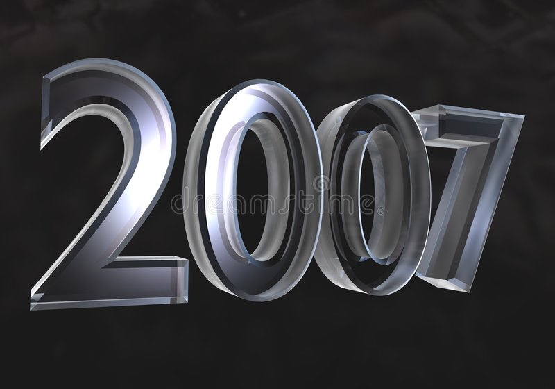 New year 2007 in glass (3D) stock illustration