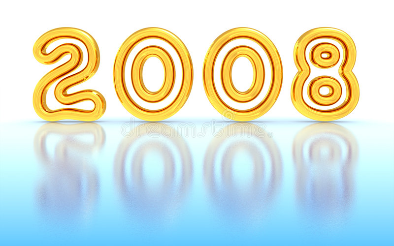New Year 2008. Gold New Year 2008 on ice. 3D rendered image stock illustration