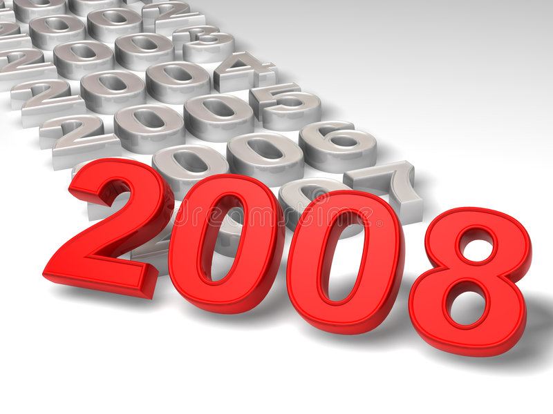 New Year. 2008. 3d Very beautiful three-dimensional illustration, figure stock illustration