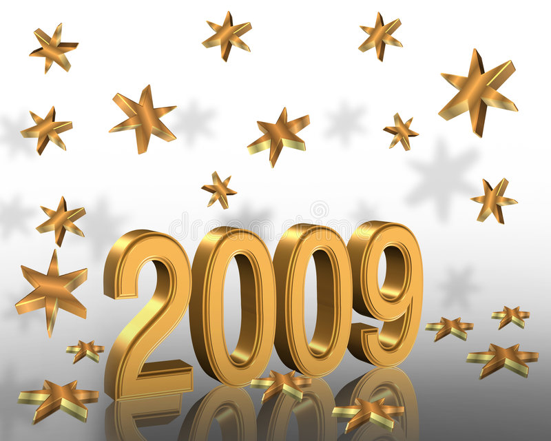 New Year 2009 3D graphic Gold Stars stock illustration