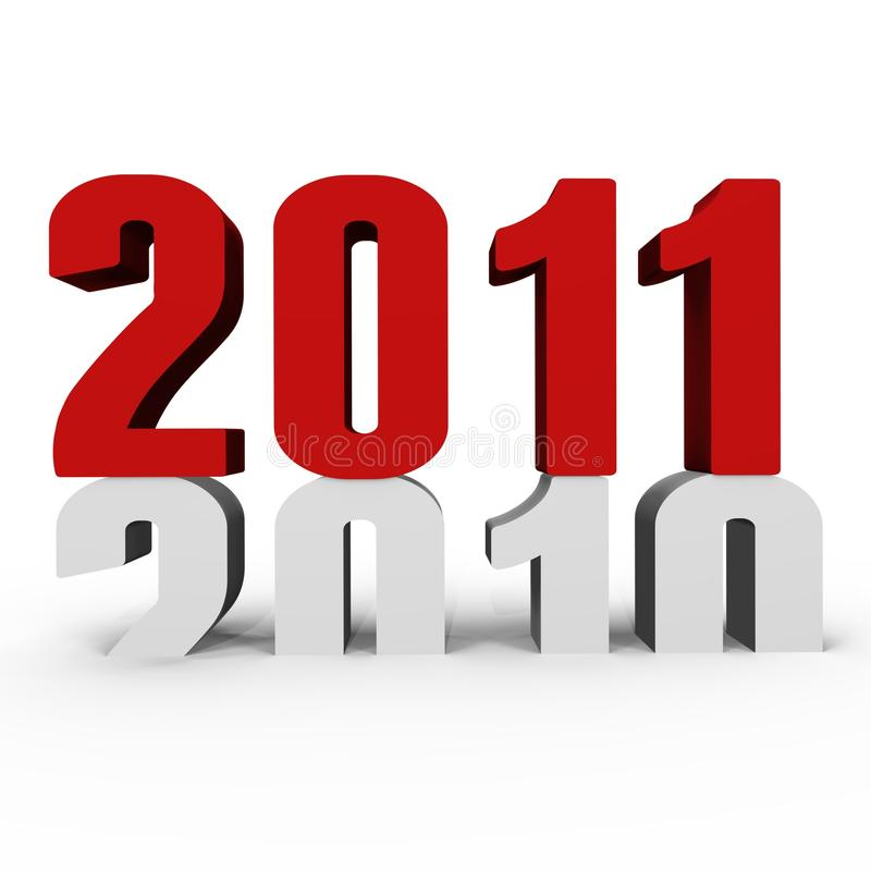 New Year 2011 pushing 2010 down - a 3d image stock image