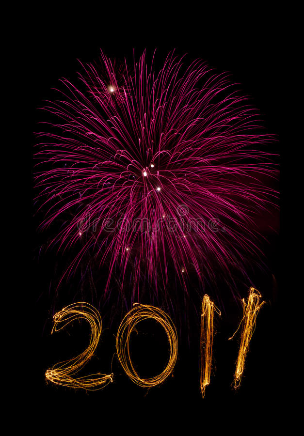 Free New Year 2011 Sparklers And Magenta Fireworks Stock Photo - 16555010