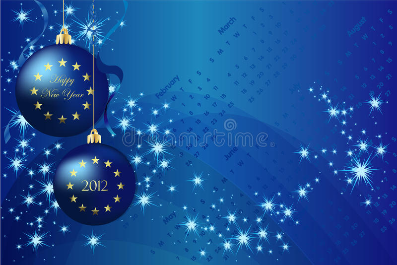 New year 2012. Blue background vector new year 2012 vector illustration