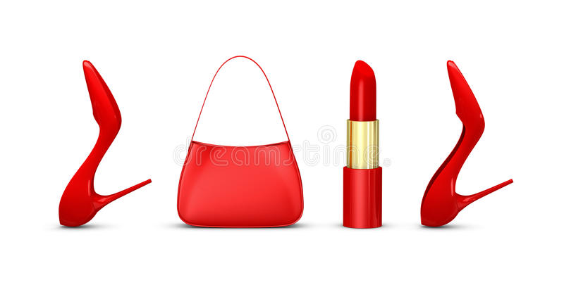 New year 2012. The word 2012 made with women shoes, a bag and a lipstick (3d render vector illustration