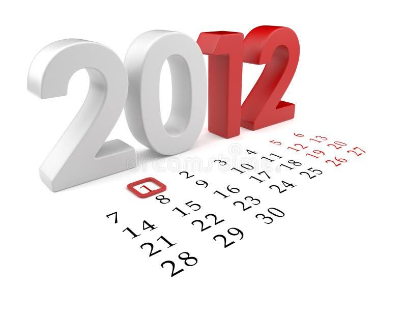 New year 2012. Calendar 3d illustration on white stock illustration