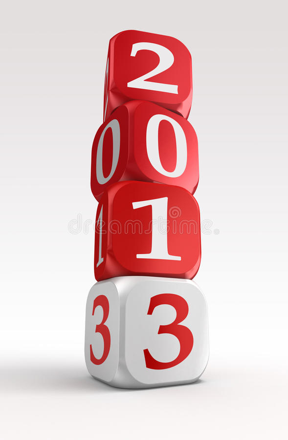 New year 2013 3d red and white box tower. On white background.clipping path included royalty free illustration