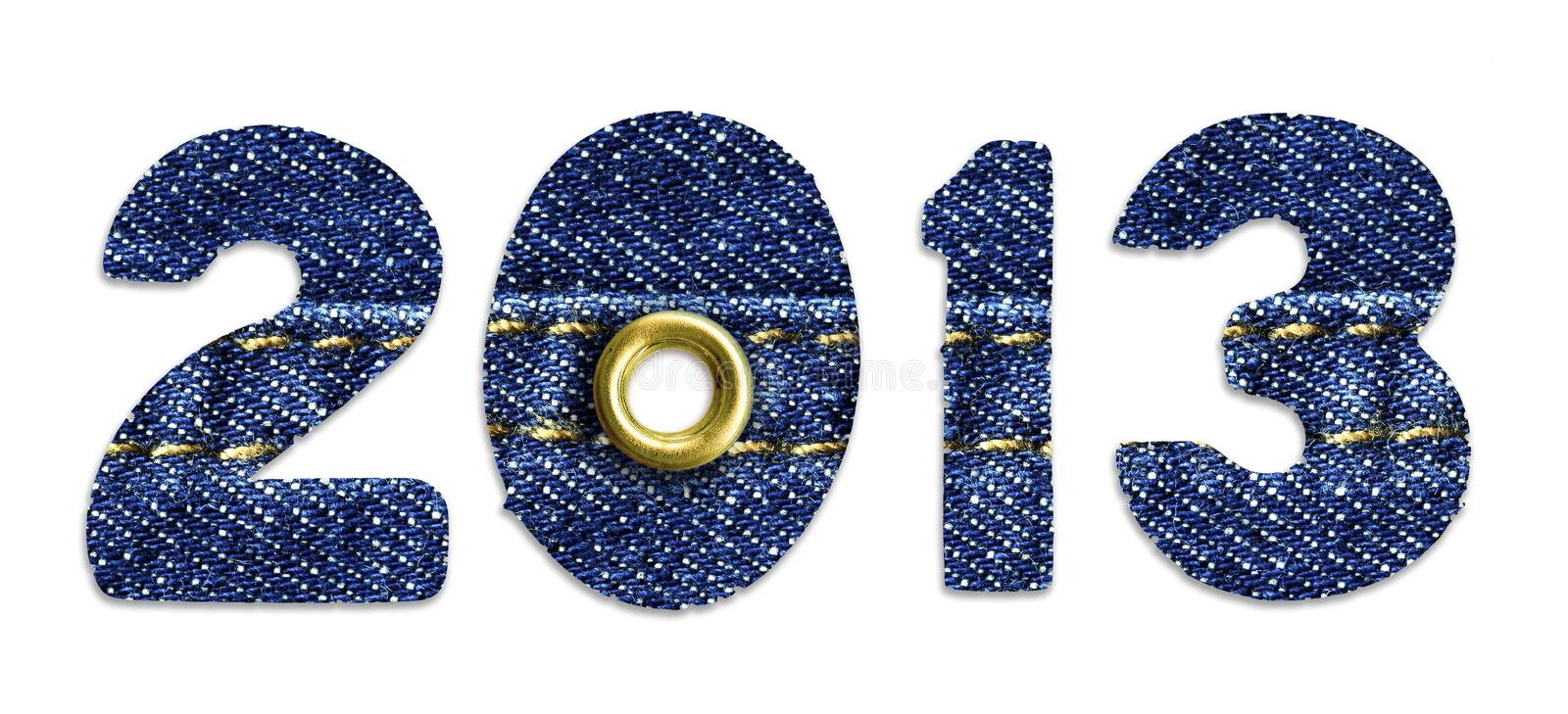 The New Year 2013 - blue jeans fonts royalty free stock images